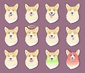 Dog Emoticon Puppy Collection Vector Illustration