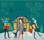Shopping Gifts on Winter Holidays Vector Concept