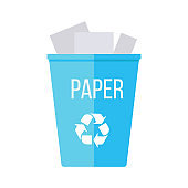 Blue Recycle Garbage Bin with Paper