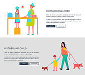 Mom and Daughter, Mother with Child Vector Web Set