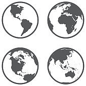 Globe different continents in a flat style