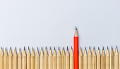 Different pencil standout show leadership concept.