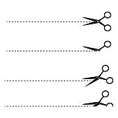Scissors with cut lines set different on white background