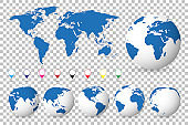 Set of globes with different continents and a map earth, isolated background