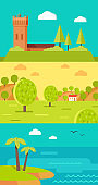 Summer Vacation Touristic Landscapes Vector Set