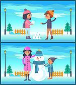 Happy Boy and Girl Play Snowballs, Makes Snowman