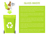 Glass Waste Poster and Text Vector Illustration
