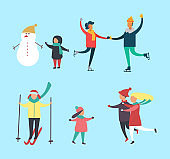 Winter Snowman and Kids Families Activity Vector