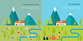 Nature Pollution and Scavenge Concept Illustration