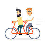 Two Friends on Double Red Bicycle Graphic Icon