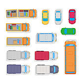 Transport. Automobile Parking on White Background