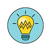 Electric Light Bulb Illustration In Flat Design.