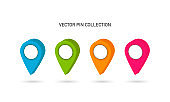 Vector pin collection. Map pin set. Location point colorful. Vector
