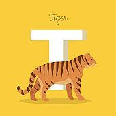 Animals Alphabet. Letter - T