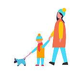 Family Walking Dog Activity Vector Illustration
