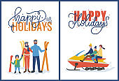 Happy Holidays with Skiing and Snowmobiling Vector