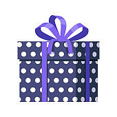 Blue Gift Box with White Dots. Ribbon and Bow