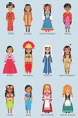Japan and Alaska Set of Women Vector Illustration