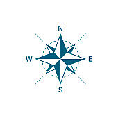 Compass icon. Travel design. Compass in flat style. Vector