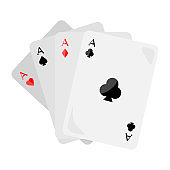 Four Aces of Diamonds Spades Hearts and Clubs