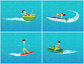 Water Transport and Fun for Teenagers Set Vector