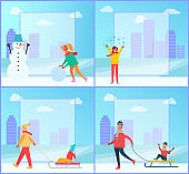 Snowman and Woman Wintertime Vector Illustration