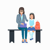 Mother and Daughter with Bag Vector Illustration