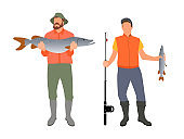 Fishing People with Results Vector Illustration