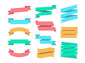 Ribbons set of 12 bunners. Colorful set Ribbin. Flat design graphic elements collection. Vector ribbons and banners