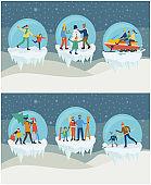 Set of Family Winter Activities in Ball Vector