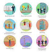 Set of icons showing different building process