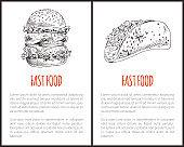 Fast Food Monochrome Poster Vector Illustration