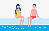 Couple Man and Woman Pool Vector Illustration