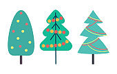 Christmas Tree Decorated with Toys Set Vector