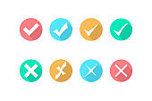 Check mark and cross icons. Icon in flat style. Checkmark yes or cross no. Vector