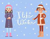 I Like Winter Snowflakes, Vector Illustration