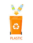 Plastic Garbage and Dustbin Vector Illustration