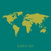 Earth map on turquoise background stylish illustration