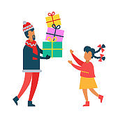 Father Giving Daughter Present Vector Illustration
