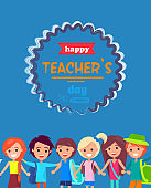 Happy Teacher's Day Colored Postcard with Children