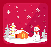 Smiling Snowman and House Vector Illustration