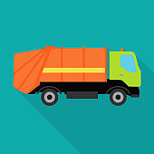 Garbage Truck Vector Illustration in Flat Design.