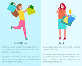 Shopping and Sale Two Posters Vector Illustration