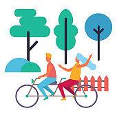 Boy and Girl on Double Bike Isolated Illustration