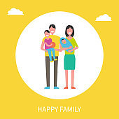 Happy family Members Father, Son, Mother, Newborn
