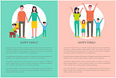 Happy Family Poster People Rising Hands Up Poster