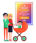 Smiling Parents with Child in Cart against Quote