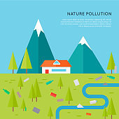 Nature Pollution Concept Vector in Flat Design.