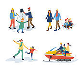 Mum and Dad with Kids Set of Activities Vector