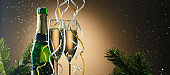 Elegant image close up of two champagne glasses
